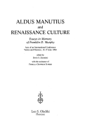 Aldus Manutius and Renaissance Culture
