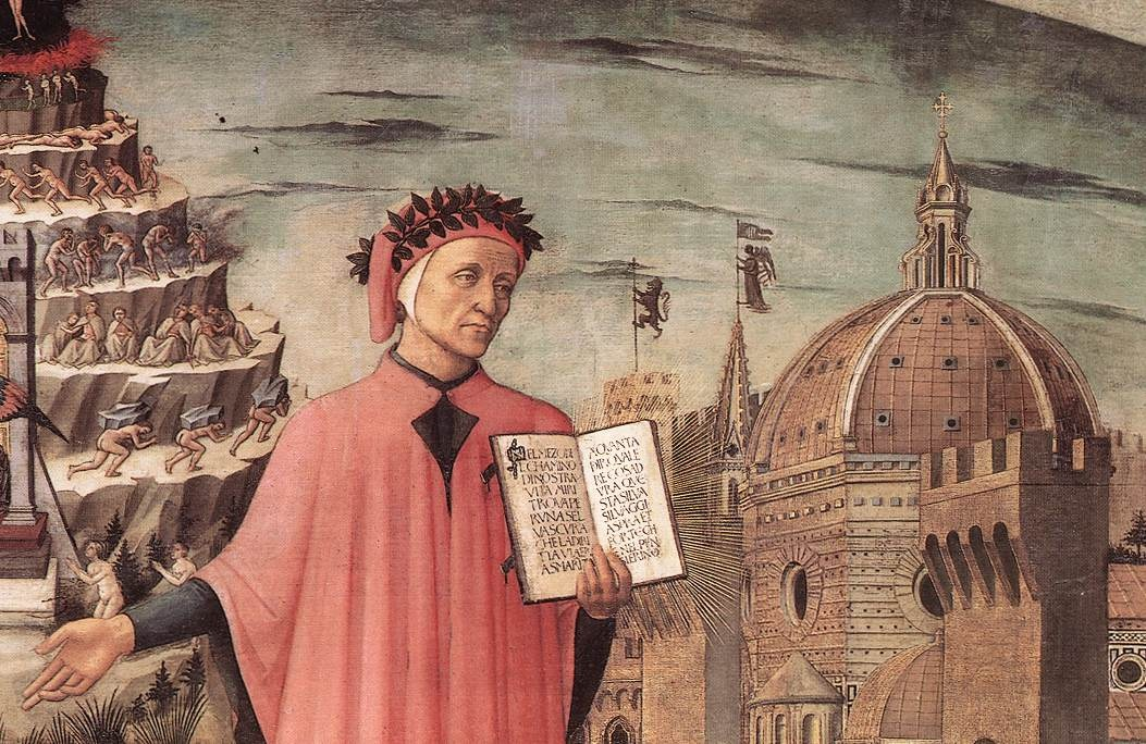 Dante, poised between the mountain of purgatory and the city of Florence, displays the incipit Nel mezzo del cammin di nostra vita in a detail of Domenico di Michelino's painting, Florence, 1465