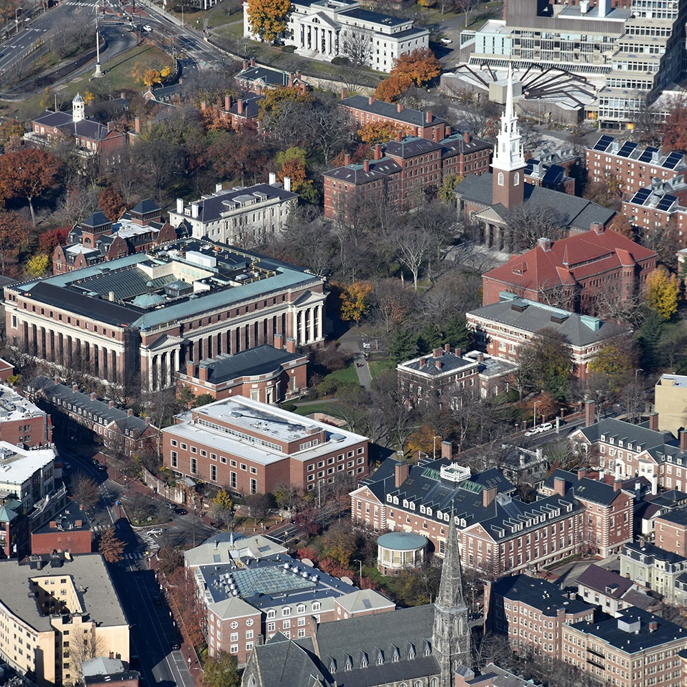 aerial view of Harvard Yard in Cambridge Massachussetts
