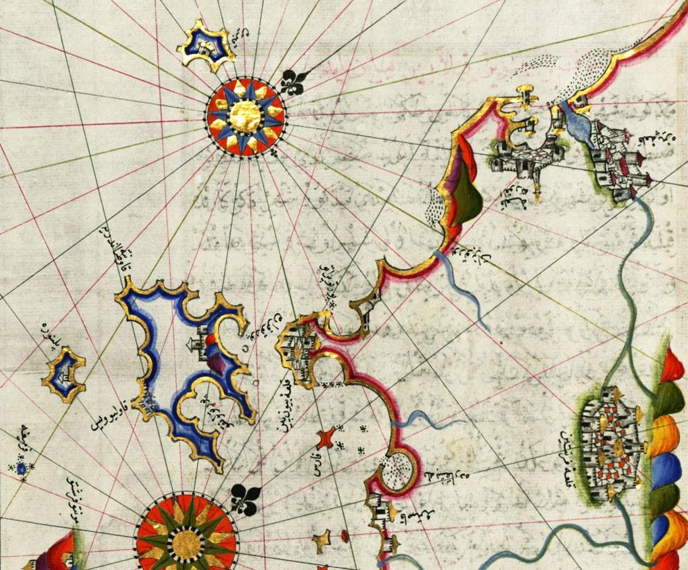 Piri Reis Map - detail of the western Italian coast