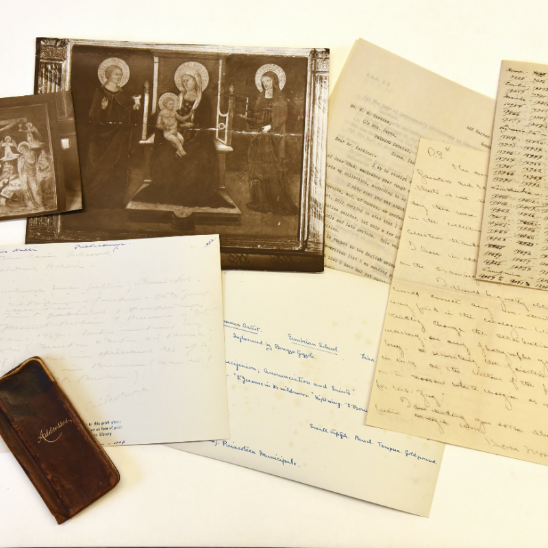 Image of some items from the Frederick Mason Perkins archive at I Tatti