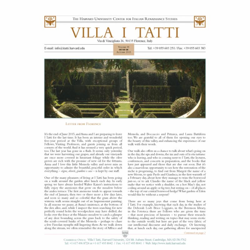 I Tatti Newsletter Volume 35