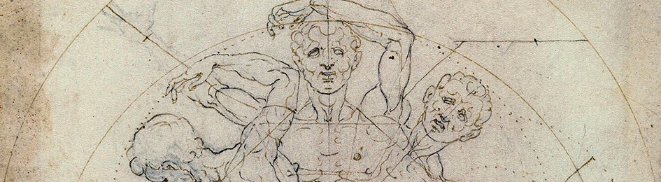 Detail: Carlo Urbino, The Vitruvian Man, Codex Huygens, fol.