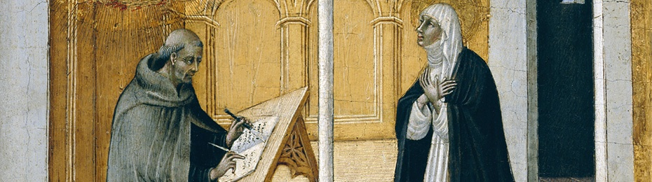Image of Saint Catherine of Siena Dictating her Dialogues. Giavanni di Paolo, Detroit Museum of Art