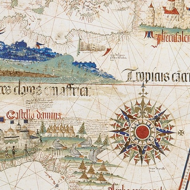 Detail of the Cantino Planisphere (showing Portuguese sites in Africa)